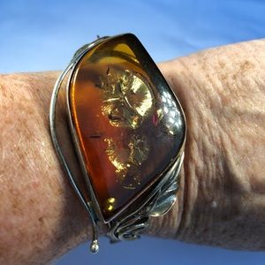 Silver Vine Leaf Cuff Bracelet